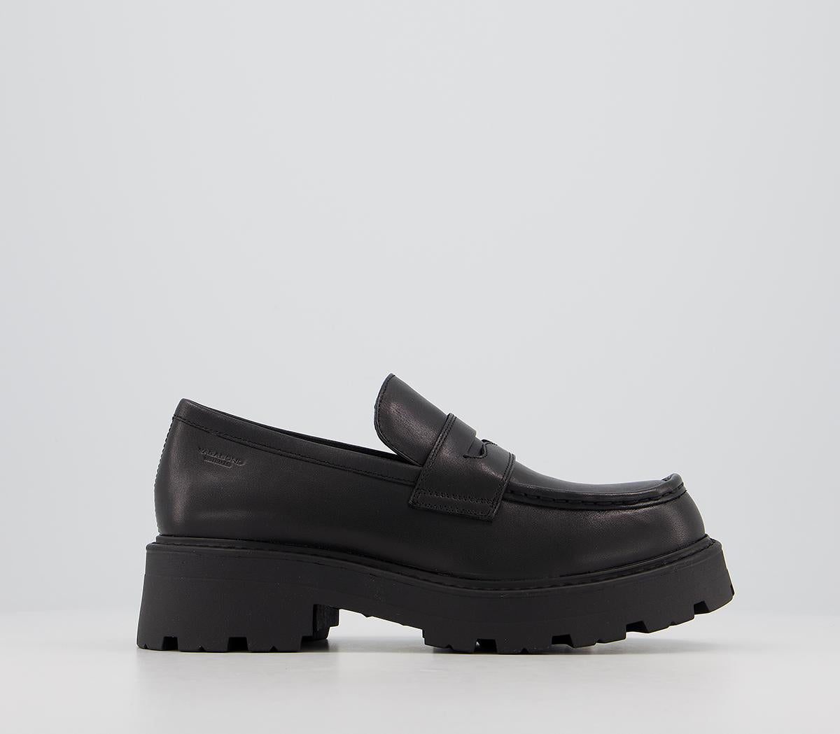 Womens Vagabond Cosmo Loafers Black Leather