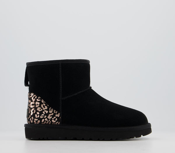 Womens Ugg Classic Mini Metallic Leopard Black