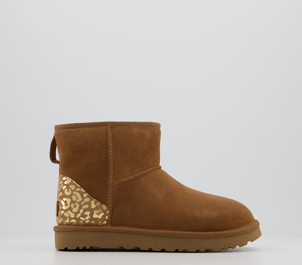 Womens Ugg Classic Mini Metallic Leopard Chestnut