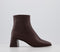 Womens Office Abbie Smart Square Toe Ankle Boots Chocolate Leather