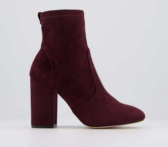 Womens Office Aisling  Stretch Block Heel Ankle Boots Burgundy