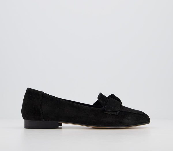 Womens Office Favoured Bow Loafer Black Suede