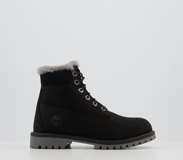 Kids Timberland 6 Inch Fur Lined Junior Black
