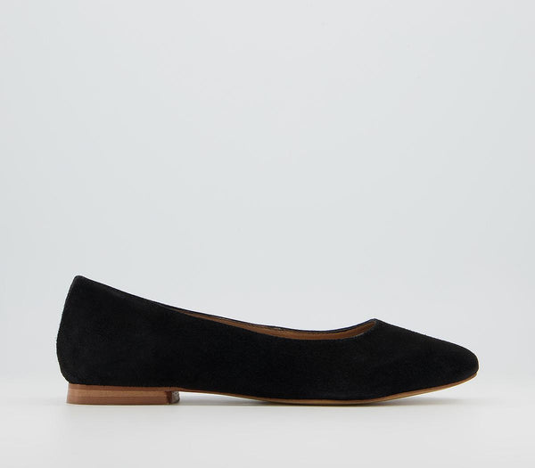 Womens Office Friendly  Soft Almond Toe Pumps Black Suede