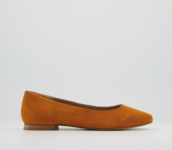 Womens Office Friendly  Soft Almond Toe Pumps Ochre Suede