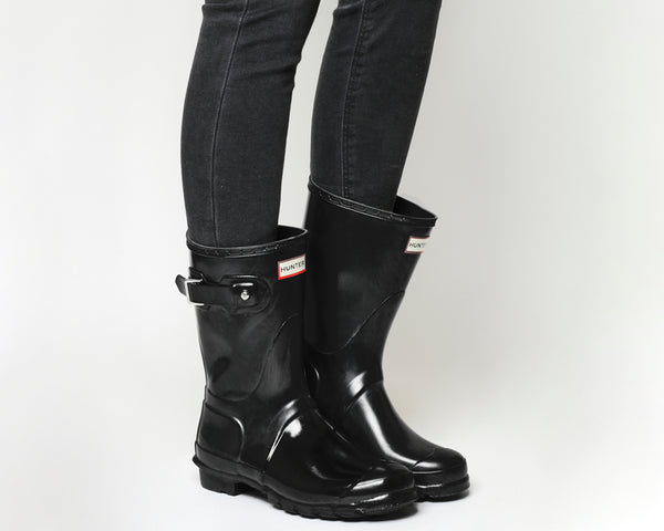 Womens Hunter Short Classic Welly Black Gloss