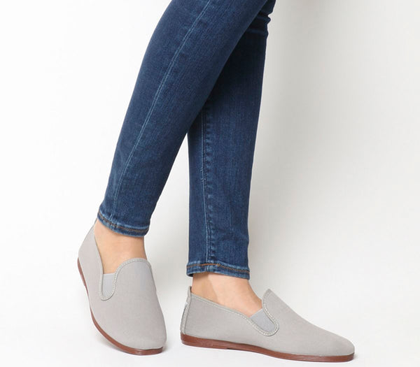 Womens Flossy Flossy Elastic Pump Light Grey Canvas Uk Size 4