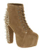 Womens Jeffery Campbell Lita Platform Ankle Boot Nude Cow Suede