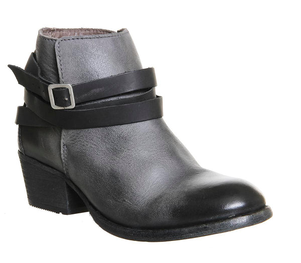 Womens Hudson Horringan Strap Ankle Bt Grey Leather