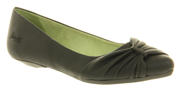 Womens Blowfish Claira Ruched Ballerina Black Pu