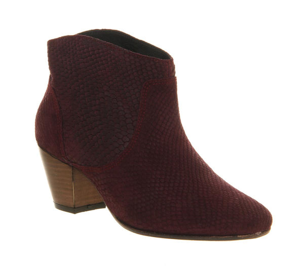 Womens Hudson Mirar Heeled Ankle Boot Bordeaux Snake