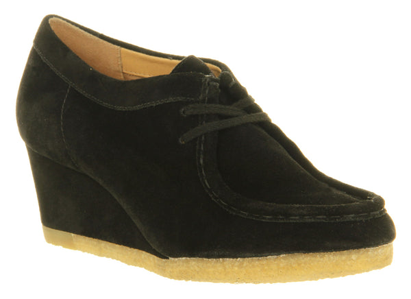 Womens Clarks Yarra Bee Wedge Black Suede