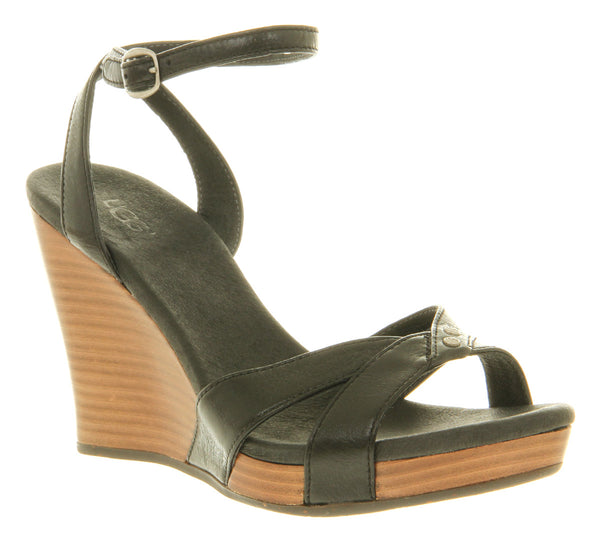 Womens Ugg Isadora Wedge Sandal Black Suede