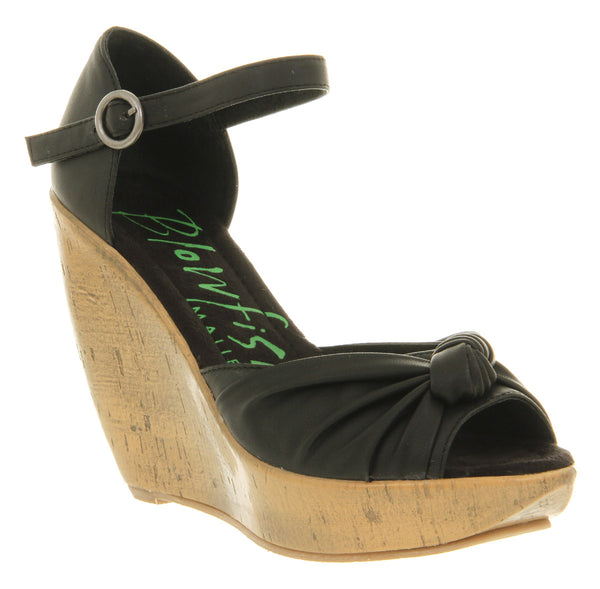 Womens Blowfish Ricky Wedge Sandal Black Soft Pu