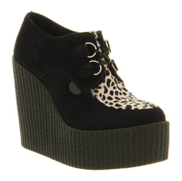 Womens Underground Creeper Wedge Black Leopard Suede