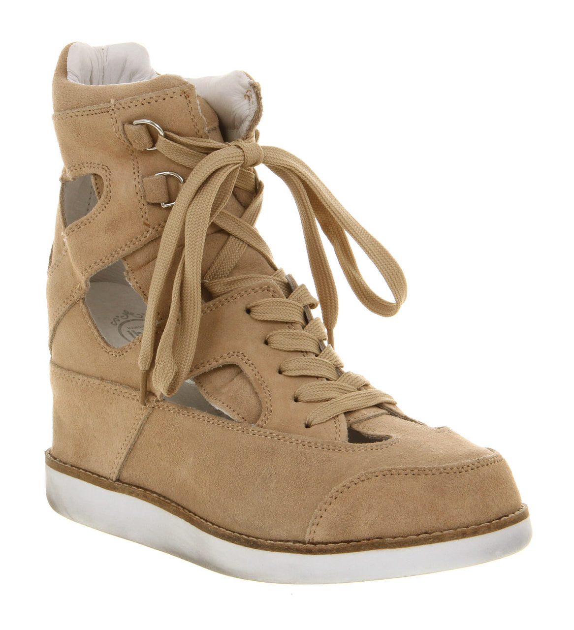 Womens Jeffery Campbell Padua Wedge Trainer Nude Suede Uk Size 6