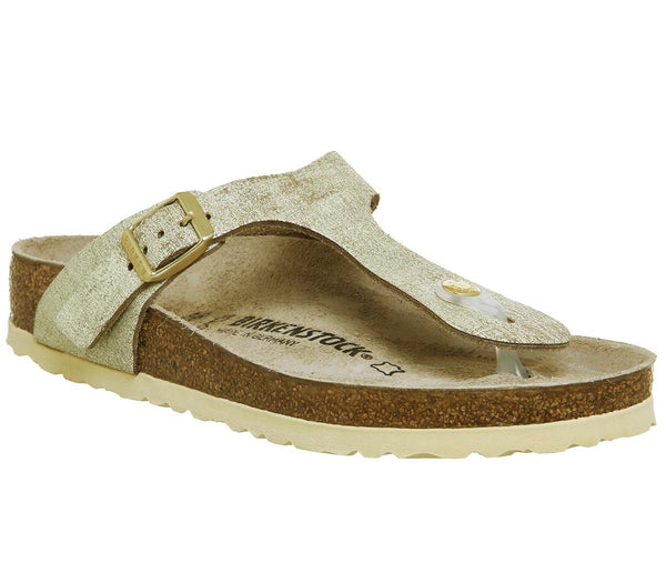Womens Birkenstock Toe Thong Footbed Washed Metallic Cream Gold