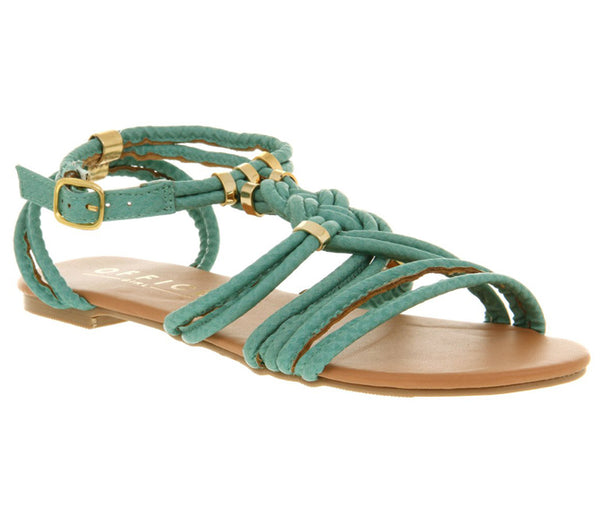 Womens Office Conga Sandal Turq Snake Pu