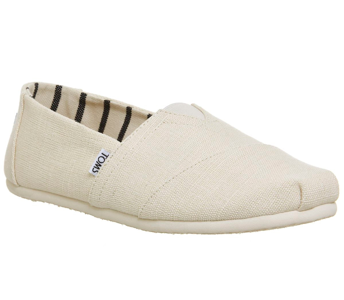 Mens Toms Classic Slip Ons Antique White Heritage Canvas