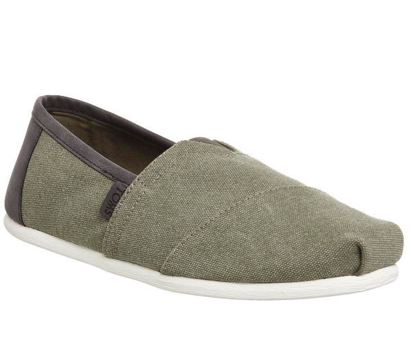 Mens Toms Classic Olive Washed Canvas Trim