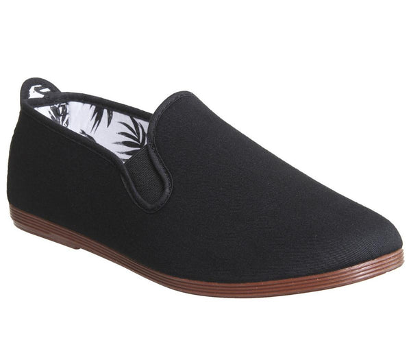Mens Flossy Flossy Plimsole Black Canvas