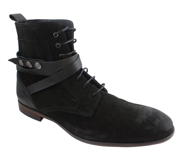 Mens H By Hudson Yorke Strap Lace Up Black Suede Uk Size 8