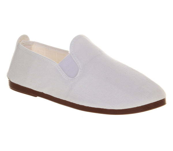 Mens Flossy Plimsoles White Canvas Casual Shoes