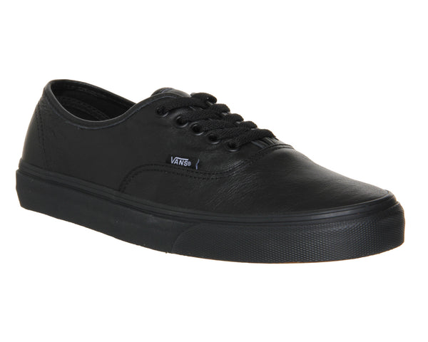 Unisex Vans Authentic Leather Black Mono Trainers