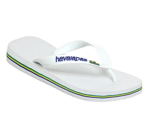 Mens Havaianas Brasil Logo Flip Flops White - OFFCUTS SHOES by OFFICE