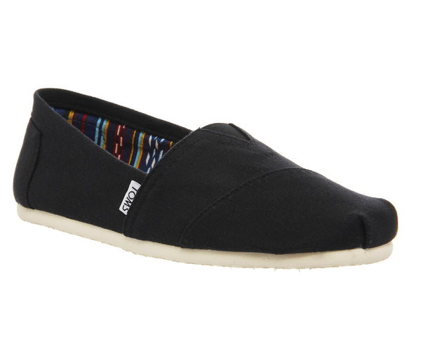 Mens Toms Classic Slip Ons Black Canvas