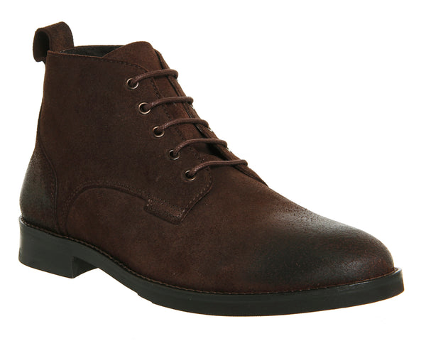 Mens Office Cage Lace Chukka Boots Brown Waxy Suede