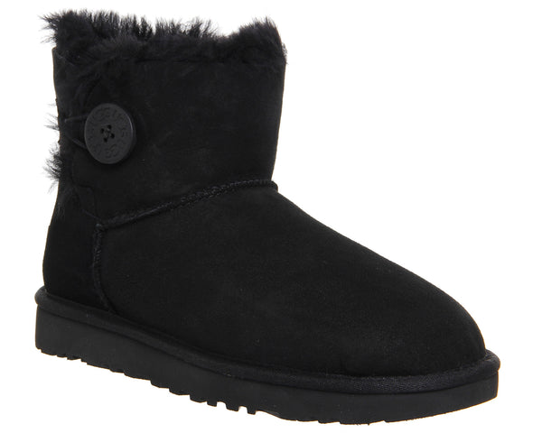 Womens UGG Mini Bailey Button II Black Suede