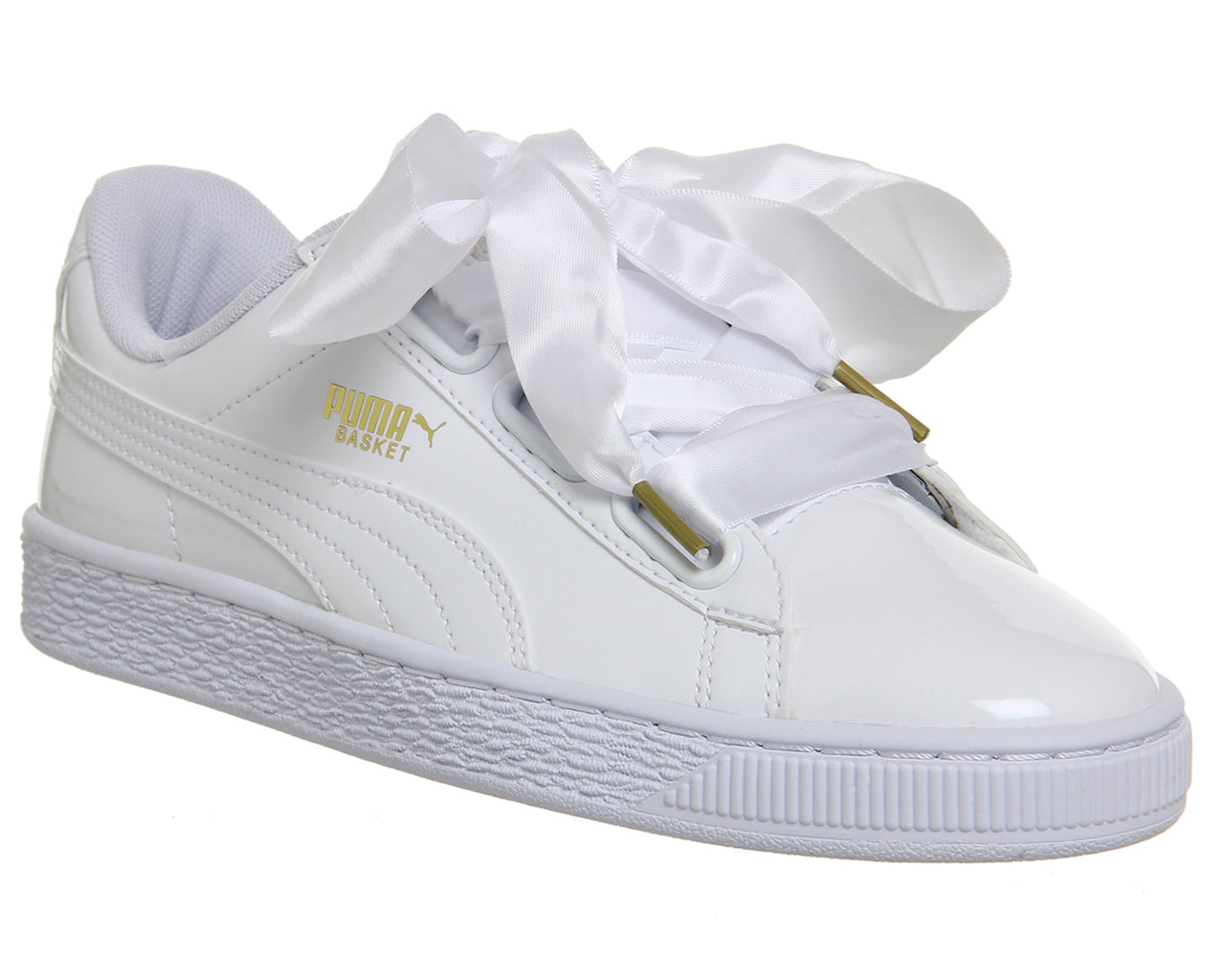 4649877d30 Womens Puma Basket Heart Trainers White Patent