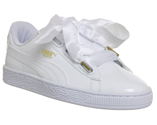 Womens Puma Basket Heart Trainers White Patent