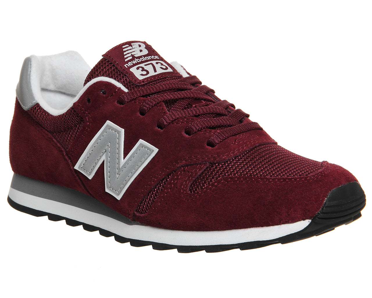 New Balance 373 Burgundy Silver Trainers