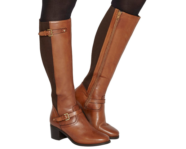 Womens Office Kennedy Mid Heel Riding Boots Tan Leather