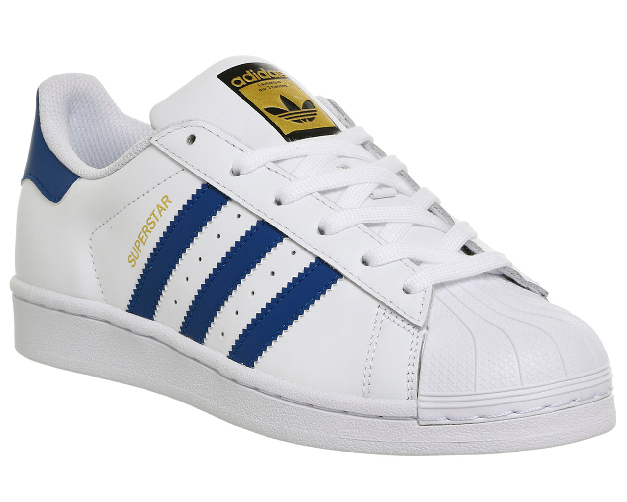 Womens Adidas Superstar Trainers White Blue