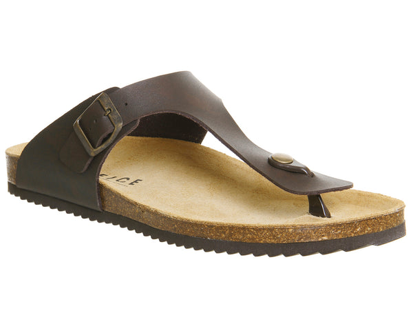 Mens Office Delhi Toepost Sandals Dark Brown