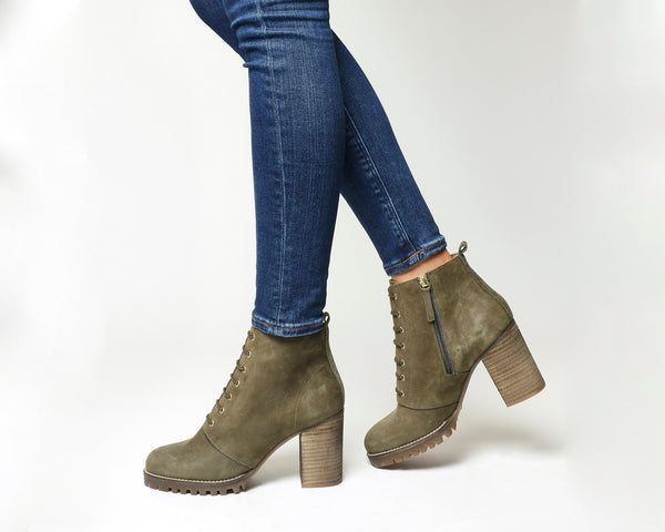 Womens Office Loose Lipped Lace Up Ankle Boots Khaki Nubuck