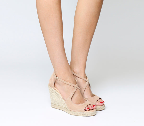 Womens Office Halkidiki Espadrille Wedges Nude Kid Suede Heels