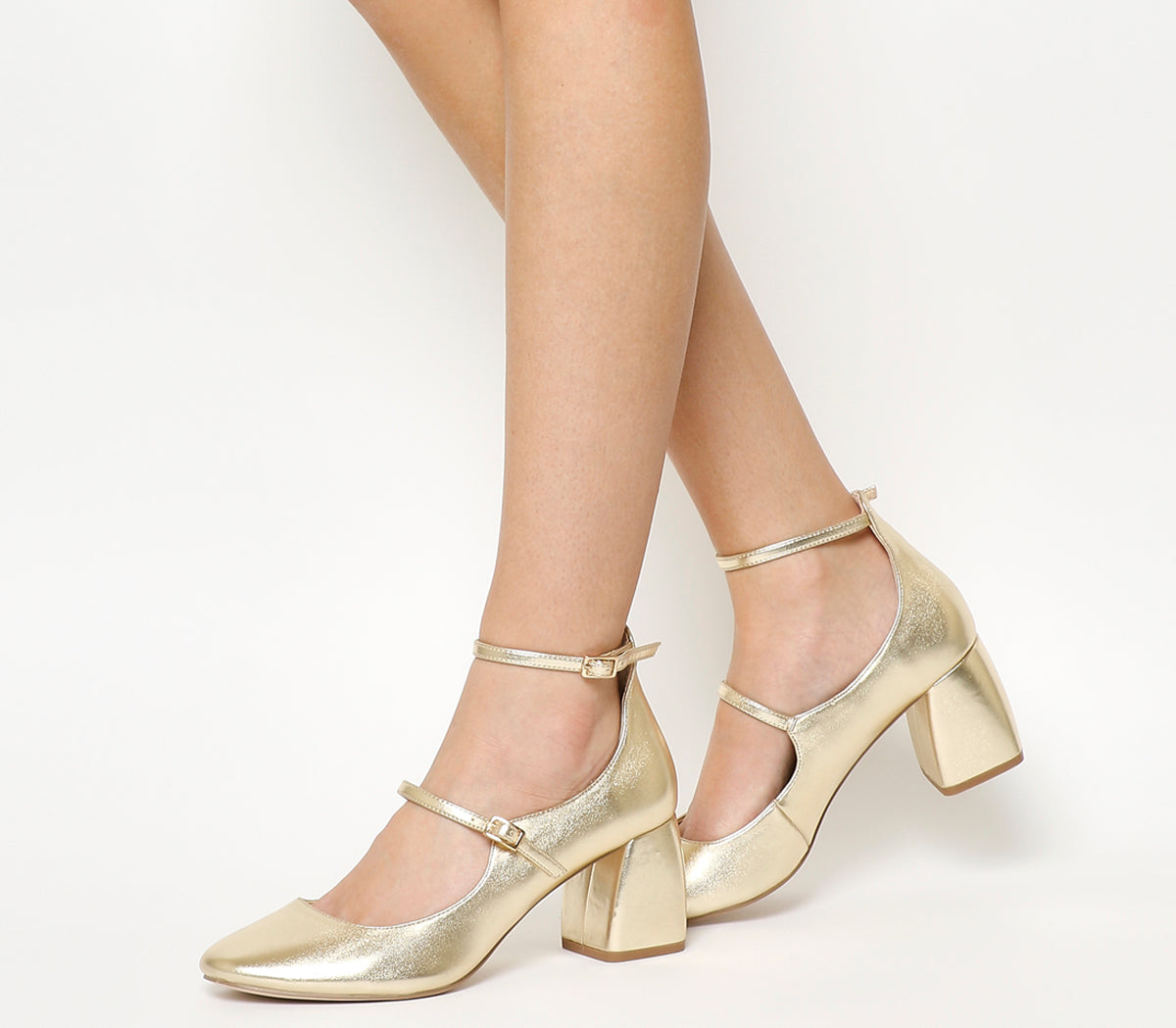 Womens Office Mildred Block Heel Mary Janes Gold