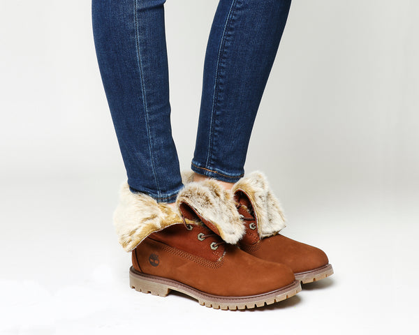 Womens Timberland Fur Fold Down Boots Cognac Nubuck Burnished