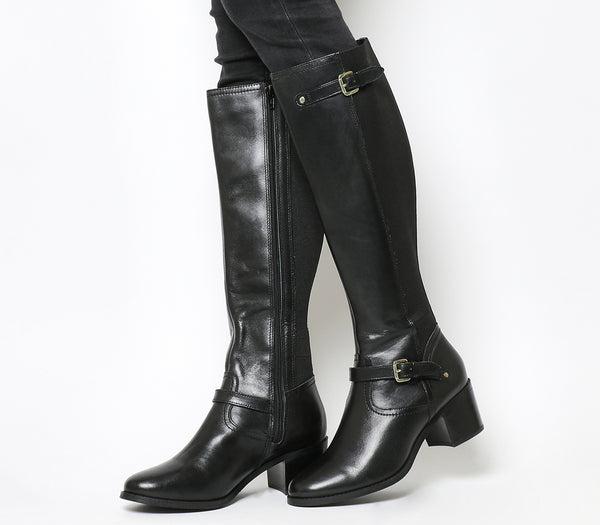 Womens Office Kennedy Mid Heel Riding Boots Black Leather