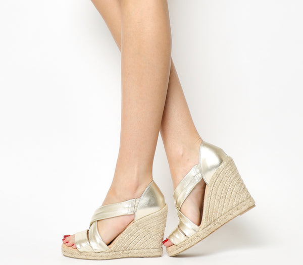 Womens Office Holiday Cross Front Espadrille Wedges Gold Leather Heels