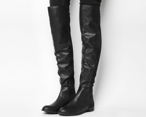 Womens Office Black Kiwi Flat Over The Knee Boots