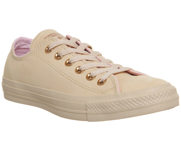 Womens Converse All Star Low Leather Trainers Raw Ginger