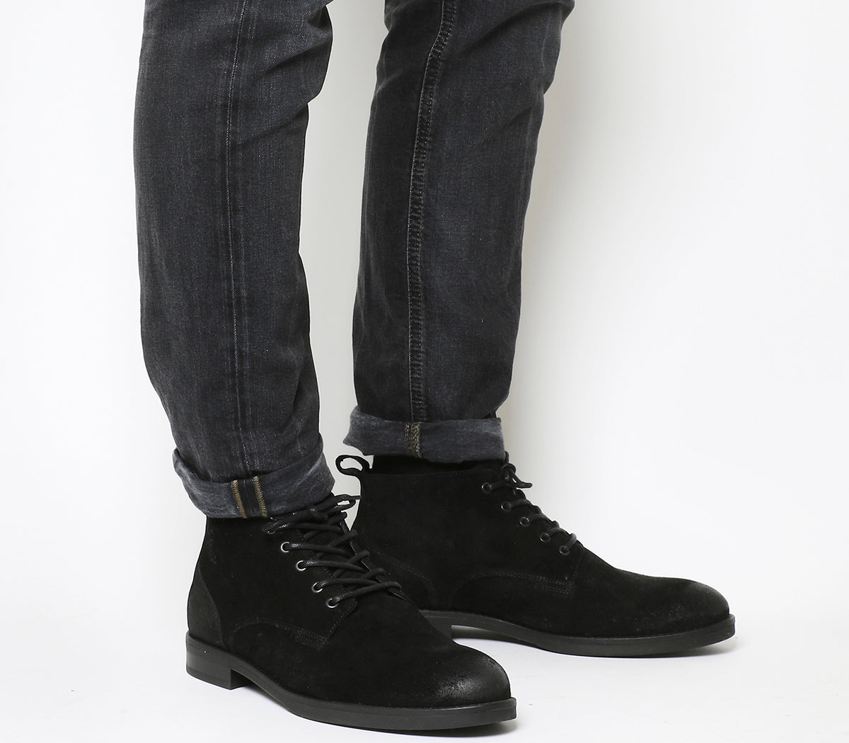 Mens Office Cage Lace Chukka Boots Black Waxy Suede - OFFCUTS SHOES by OFFICE