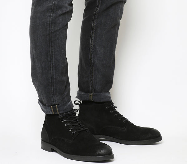 Mens Office Cage Lace Chukka Boots Black Waxy Suede