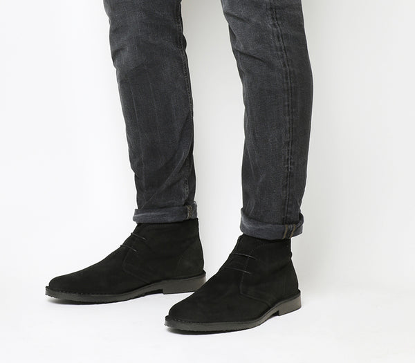 Mens Office Fahrenheit Desert Boots Black Suede Black Sole