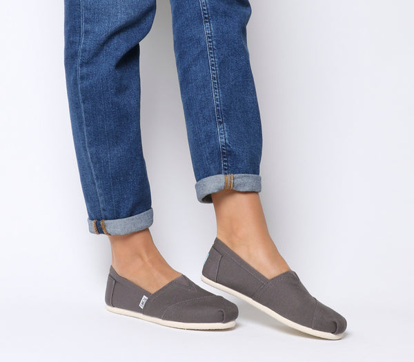 Womens Toms Classic Slip Ons Ash Grey Canvas